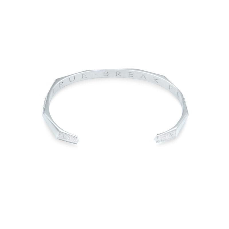 Underside Flat View of Arktis Product Image in White Gold. Engraved is Be True. Break Free.